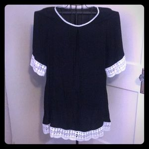 Dresses & Skirts - Beautiful black dress with white lace embroidery
